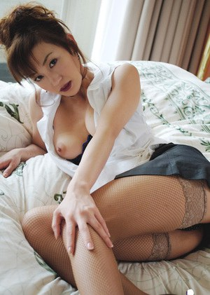 Sexy asian lady Mako Katase stripping off her suit and posing in lingerie