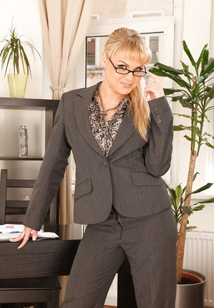 Seductive secretary in glasses Barra Brass stripping in the office
