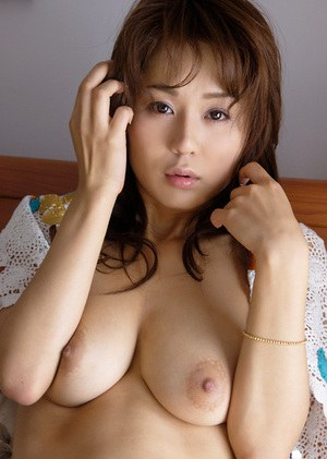 Busty asian coed with petite ass Takane Hirayama stripping on the bed