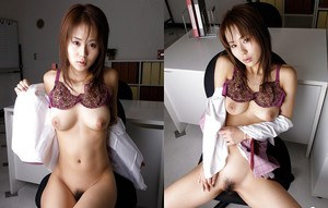 Sexy asian office girl Takane Hirayama stripping off her clothes