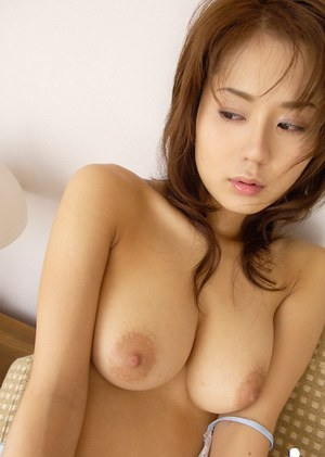 Sexy asian coed Takane Hirayama showcasing her big bosoms and hairy pussy