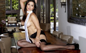 Stupendous MILF in stockings Sunny Leone revealing her gorgeous curves