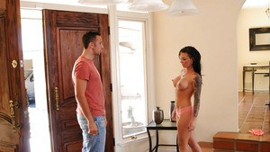 Christy Mack gives a blowjob and gets her shaved slit shafted hardcore
