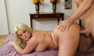 Curvaceous blonde Julie Cash gets fucked hardcore and facialized