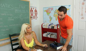 Slutty latina teacher with massive melons gives a blowjob and gets screwed