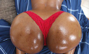Slutty ebony chick with tempting ass gives a blowjob and gets slammed
