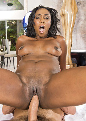 Voluptuous ebony MILF Layton Benton sucks and fucks a big white boner