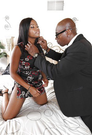 Monique Symone gets her shaved pussy drilled by a big black meaty pole