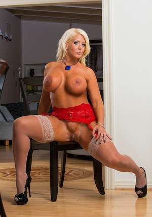 Lusty MILF in stockings Alura Jenson uncovering her jaw-dropping curves