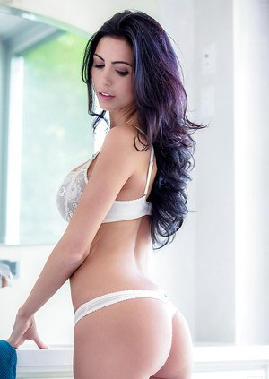 Graceful brunette hottie with neat ass Ashlee Lynn posing in lingerie