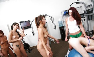 Naughty sporty girls make some rough lesbian action in the gym