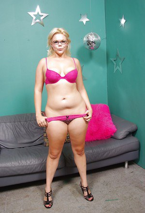 Chubby MILF in glasses Alice Frost stripping and licking her nipples