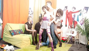 Petite coeds get their shaved cunts drilled hardcore at the house party
