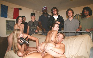 Lecherous hotties enjoy a hardcore groupsex with horny guys at the party