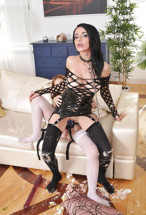 Lascivious chicks playing with a big strapon and a hard meaty pole