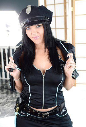 Filthy babe in police uniform Megan Foxx uncovering her voluptuous curves