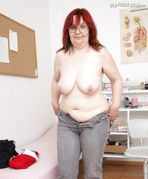 Chubby granny with flabby jugs stripping in the gyno office
