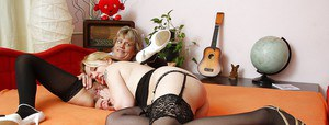 Mature lesbians exploring pussy licking pleasures and playing with a dildo