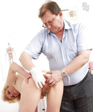 Blonde mature lady gets her love holes examed by naughty gyno