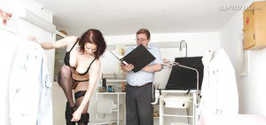 Bosomy mature vixen in stockings gets examed by a lucky gyno