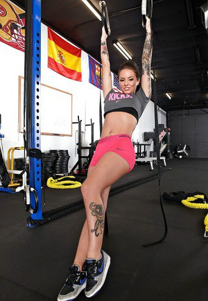 Sporty babe with big tits Christy Mack stripping and seducing her coach