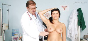 Petite latina lady with nice jugs gets examed by a lucky gyno