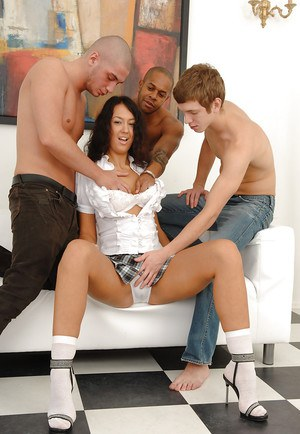 Slutty vixen enjoys a groupsex with three guys and gets her asshole creampied