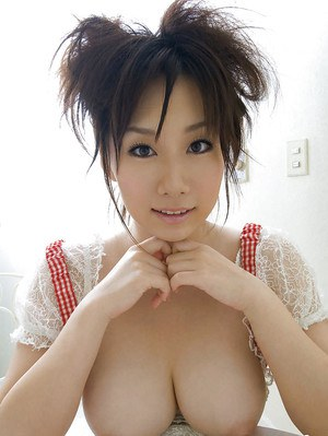 Lovely asian coed Hanano Nono showcasing her big melons and petite fanny
