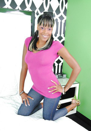 Voluptuous ebony teen Rudy Karmel stripping and spreading her legs