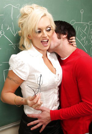 Sultry blonde teacher Monica Mayhem gets banged hardcore by a horny student