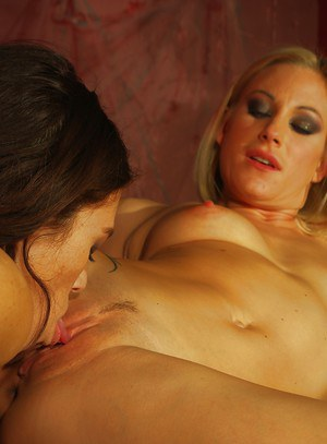 Hot blonde MILF has some rough lesbian fun with her brunette friend