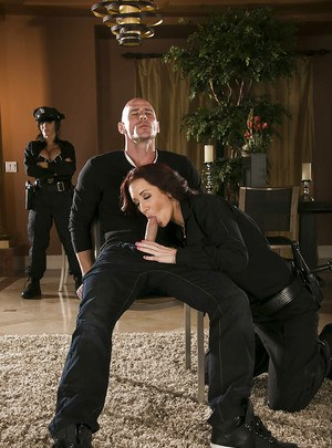 Busty gals in police uniform Jayden Jaymes & Jenna Presley share a hard dick