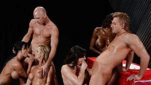 Big busted oiled-up vixens have a fervent groupsex with well-hung guys