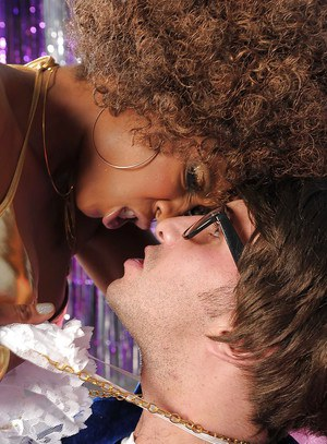 Graceful ebony pornstar Misty Stone sucks and fucks a big white boner