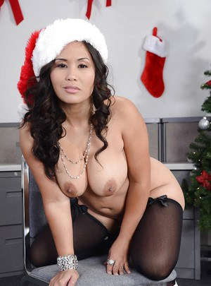 Hot ass asian MILF in stockings Jessica Bangkok stripping off her clothes