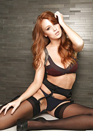 Foxy babe Leanna Decker showcasing her tempting body covered with lingerie