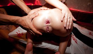 Lecherous teen enjoys a rough threesome with well-hung guys