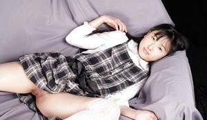Lusty asian schoolgirl Youko Sasaoka slipping off her uniform