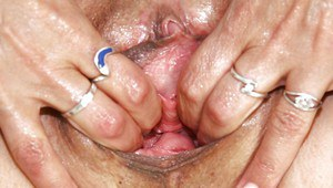 Nasty mature gyno nurse stretching her twat by her fingers