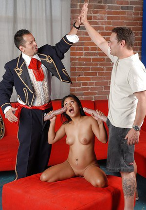 Asian chick Lana Violet getting down with two guys who has monstrous cocks