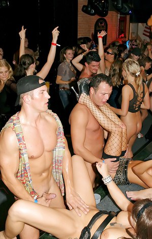 Tempting pornstars spend some good time with saucy guys at the club party