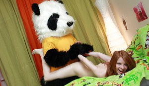 Horny teen gets facialized with fake cum after sex with her panda toy