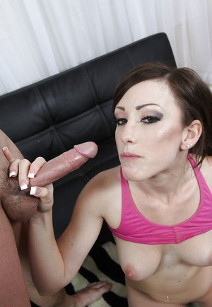 Jennifer White takes a cumshot into her sweet mouth after hardcore fucking