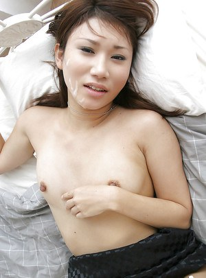 Stunning asian lady rides a hard cock and gets facialized