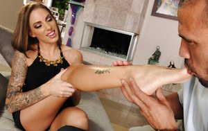 Footsy latina babe Juelz Ventura gives a sensual footjob and gets fucked