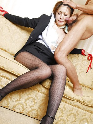 Submissive asian hottie in pantyhose gets bound and abused by a saucy guy