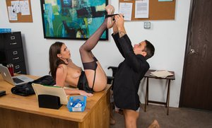 Arousing office slut in stockings Casey Calvert gets fucked and facialized