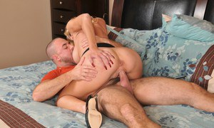 Bosomy mature slut Holly Claus gets her shaved love holes shafted hardcore