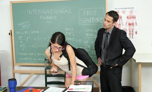 Salacious bookworm Scarlet Banks gets screwed hardcore in the classroom