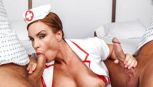 Hot mature nurse Diamond Foxxx gets double penetrated by her patients